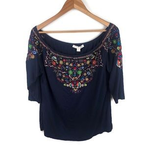 Boston Proper Embroidered Off the Shoulder Top